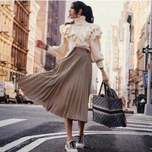 Zara Pleated Plaid Midi Skirt